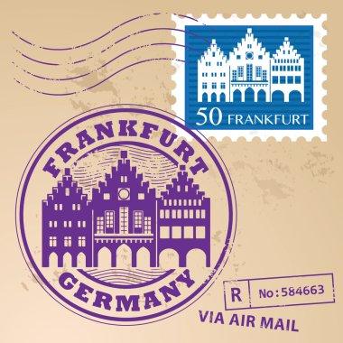 Grunge rubber stamp set with words Frankfurt, Germany inside