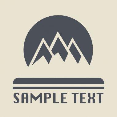 Mountain icon or sign