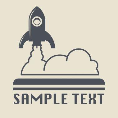 Retro rocket icon or sign