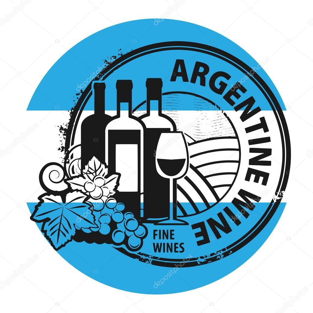 Grunge rubber stamp with words Argentine Wine
