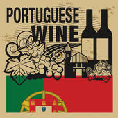 Grunge gumibélyegző vagy címke szavak portugál bor