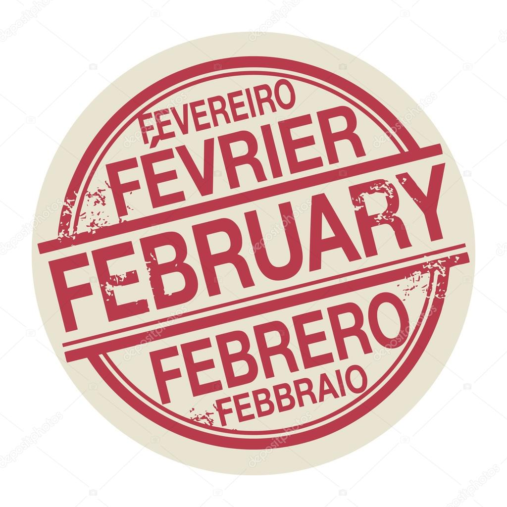 Stamp with the word February in different languages