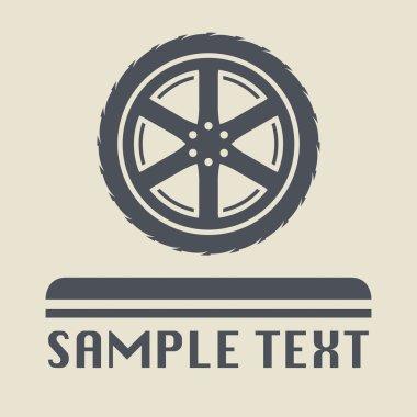 Car wheel icon or sign