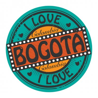 Grunge color stamp with text I Love Bogota inside