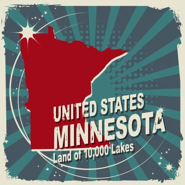 Abstract label with name and map of Minnesota