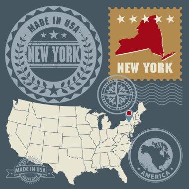 Abstract post stamps set New York, USA
