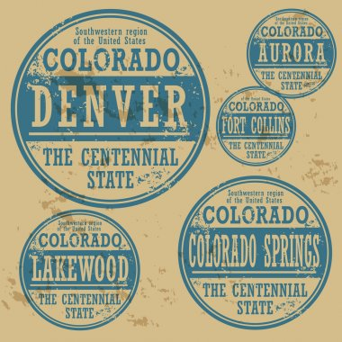 Grunge rubber stamp set with names of Colorado cities