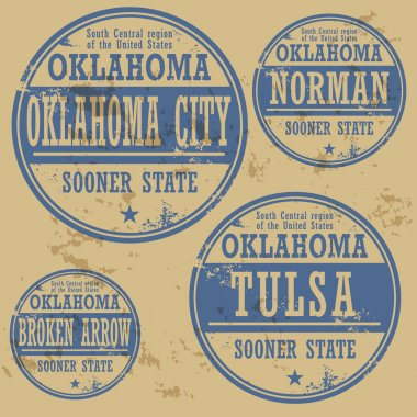 Grunge rubber stamp set with names of Oklahoma cities