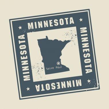 Stamp with name and map of Minnesota