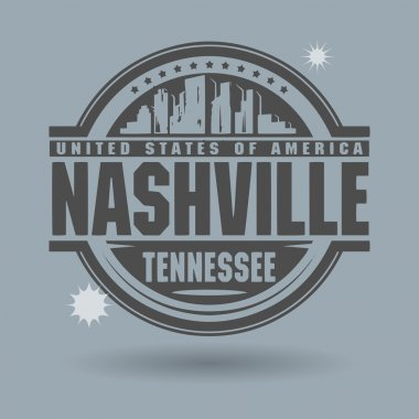 Stamp or label with text Nashville, Tennessee inside