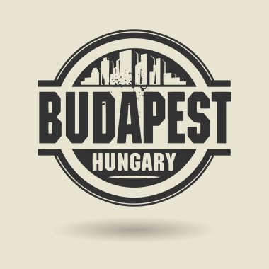 Stamp or label with text Budapest, Hungary inside
