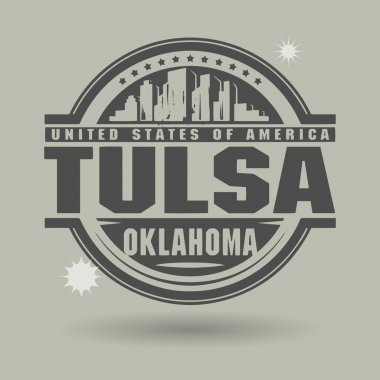 Stamp or label with text Tulsa, Oklahoma inside