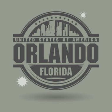 Stamp or label with text Orlando, Florida inside