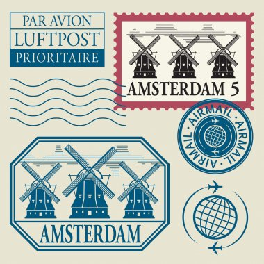 Stamps set with word Amsterdam inside