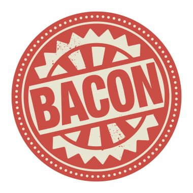 Abstract stamp or label with the text Bacon written inside