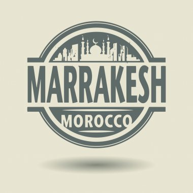 Stamp or label with text Marrakesh, Morocco inside