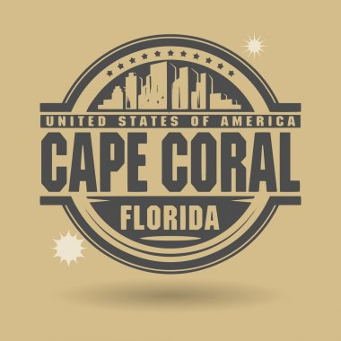 Stamp or label with text Cape Coral, Florida inside