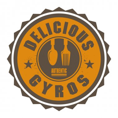 Abstract stamp or label with the text Delicious Gyros written in