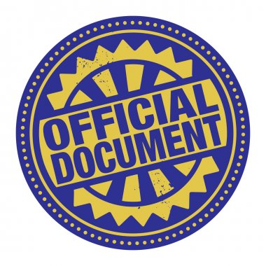 Abstract stamp or label with the text Official Document