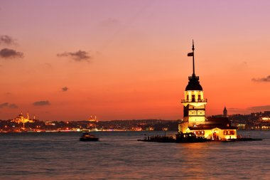 Maiden's Tower view at night. Istanbul Turkey