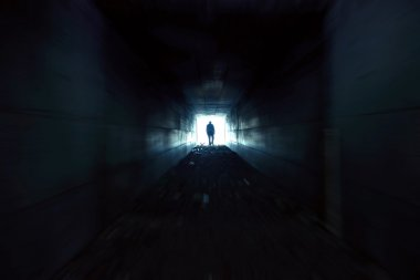 The man who quickly through the tunnel toward the light