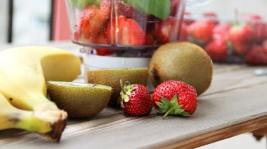 Fresh fruits in the blender
