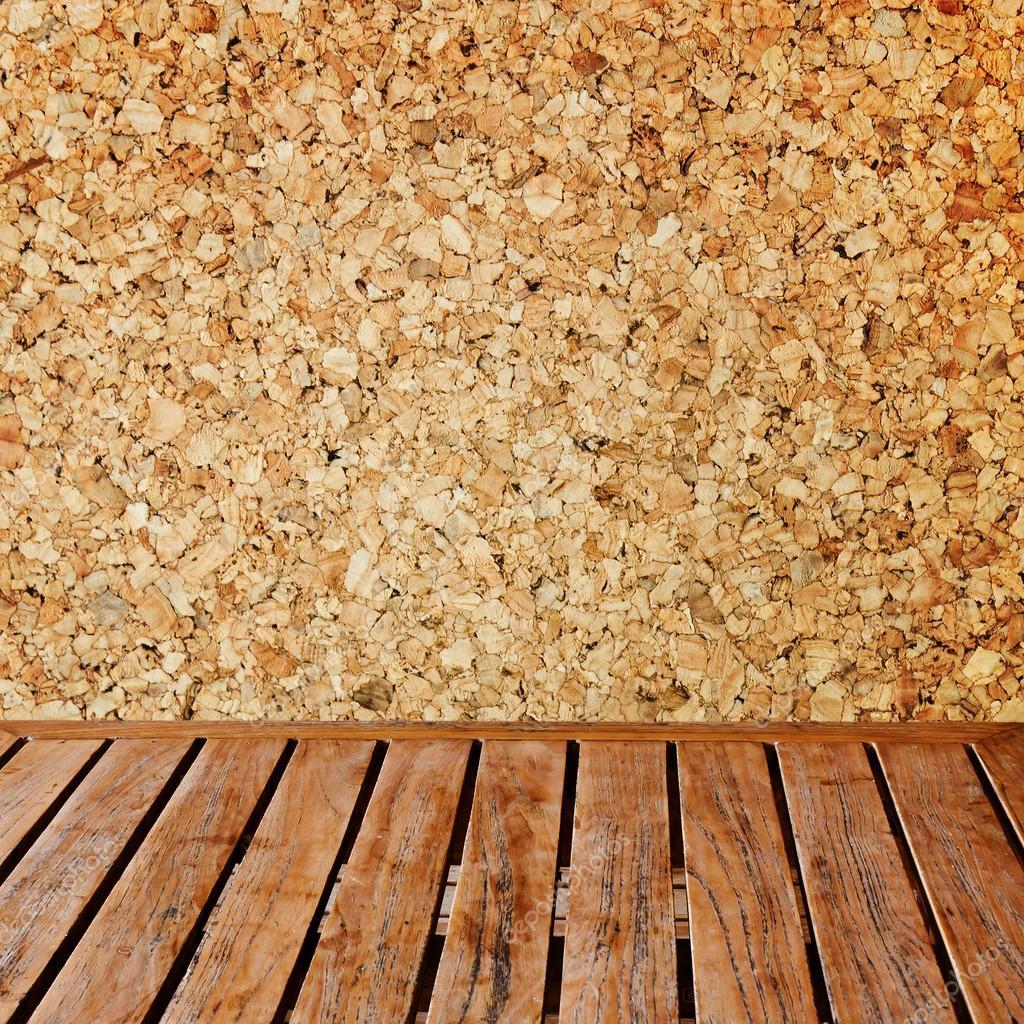 나무 패널 벽 인테리어 배경에서 코르크 보드 — 스톡 사진 ...