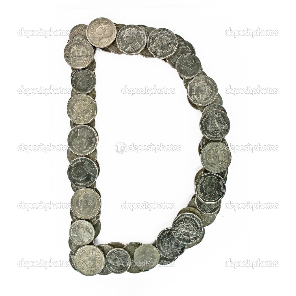 Brilliant Myport Collection Of Alphabet From The Coins. Isolated On White.check