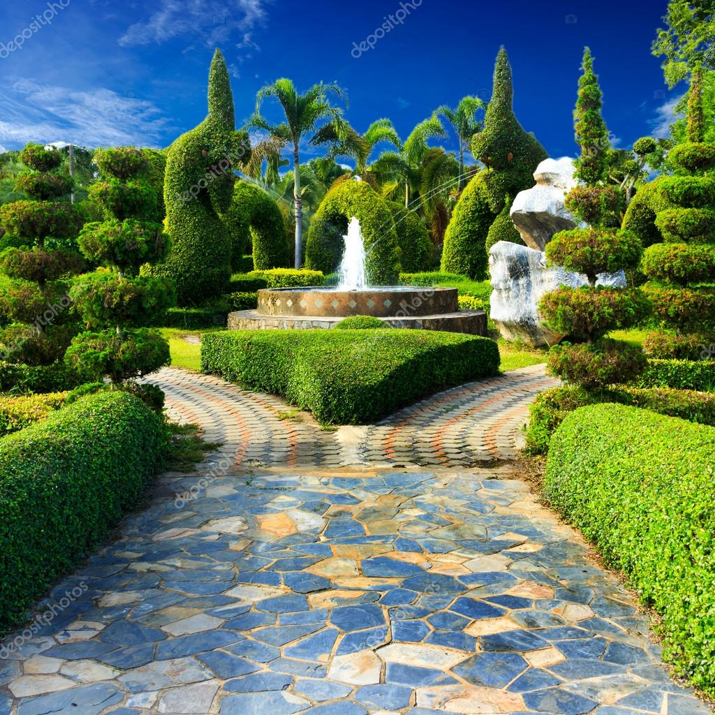Landscaping in the garden design.