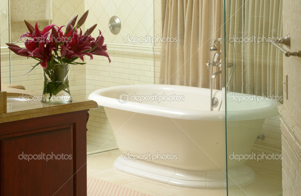 Luxe Badkamer Inrichten : Moderne badkamer met luxe bad u2014 stockfoto © ftlaudgirl #30675065