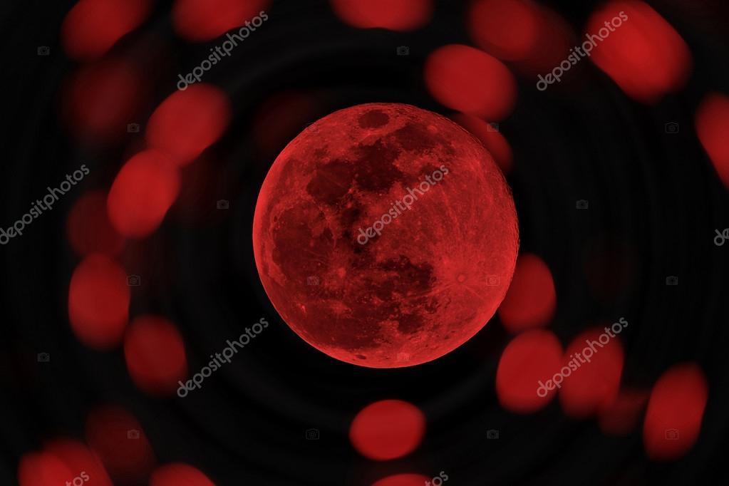 red Halloween moon or blood moon