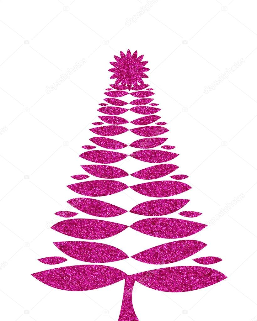 Hot Pink Christmas Tree Background With Glitter Stock Photo