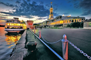 River cruise liner moored north of the river port of Moscow