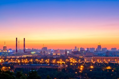 Evening Moscow, view from Sparrow Hills