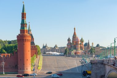 sunny summer morning on Red Square in Moscow