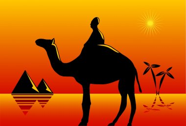 Nomad with camel in desert