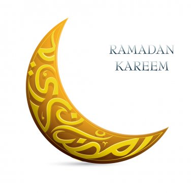 Ramadan Kareem greetings shaped into crescent moon