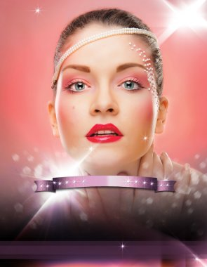 Make up woman flayer.stylish woman flyer.beautiful woman and modern abstract flyer