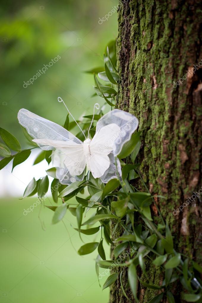 Svatebni Dekorace S Krajkovy Motyl Na Venkovni Strom Stock