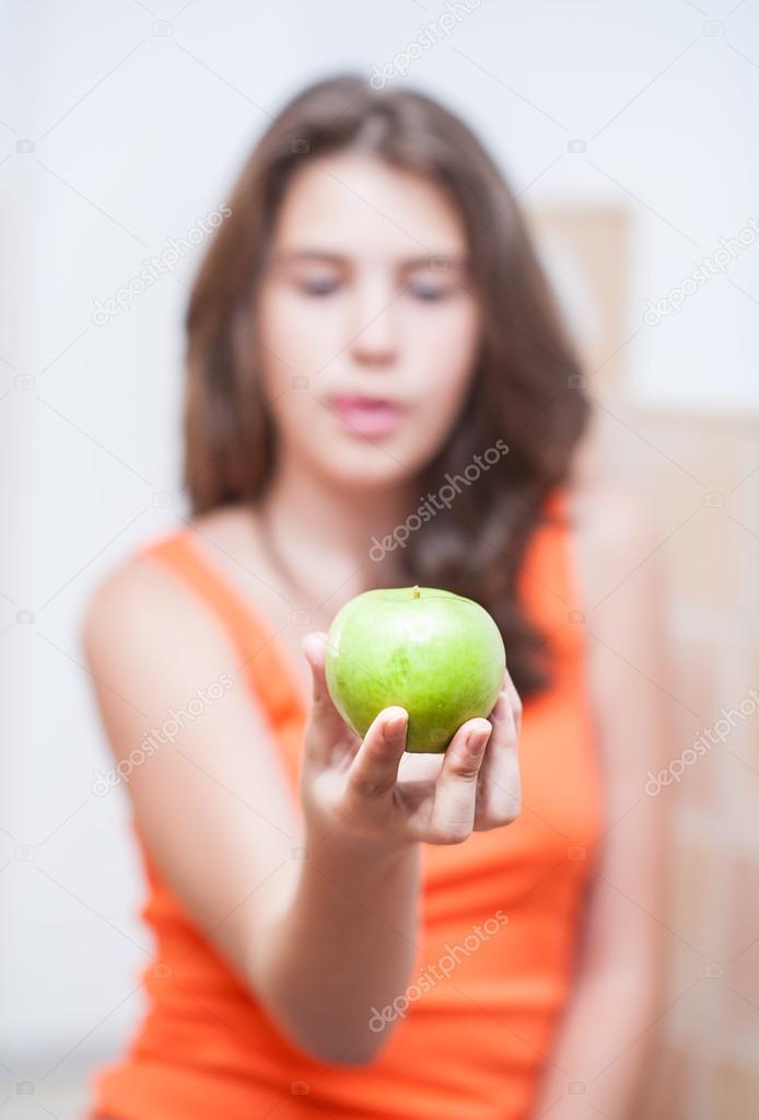 Fresh Teen Part - 31: Teen Girl Holding A Beautiful, Fresh Green Apple Indoor, Selective Focus On  Apple.