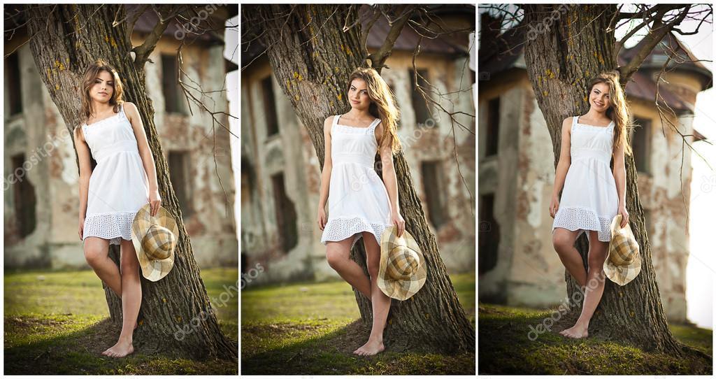 chica hermosa retrato con sombrero cerca de un árbol en el jardín. Princesa  de hadas con vestido blanco en el jardín. Retrato de rural hermosa chica  con el ... 098b3398ece