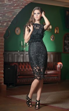 Beautiful brunette lady in elegant black lace dress posing in a vintage scene. Young sensual fashionable woman on high heels on green wall background. Attractive long hair girl, indoor shot