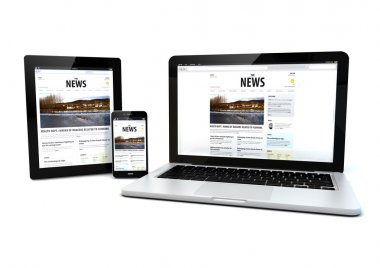 news on a tablet, laptop and phone