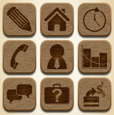 Wooden business icons set