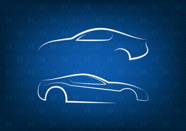 White car logos on blue floral background