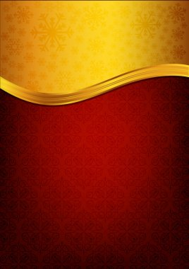 Abstract red celebration paper with golden ribbon