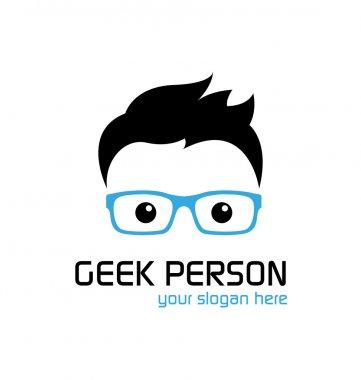 Geek person logo template stock vector