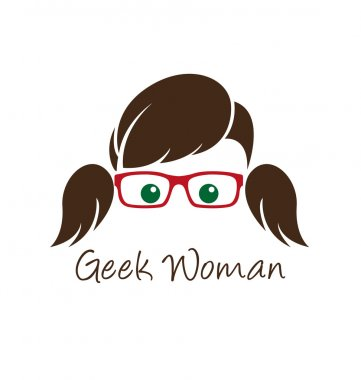 Geek woman logo template stock vector