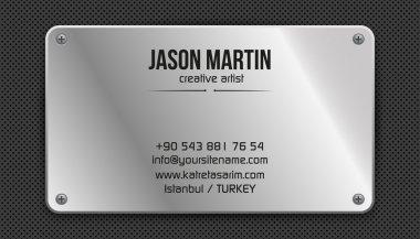 Metallic grunge business card