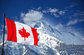 Fotografie Canada flag and mountains